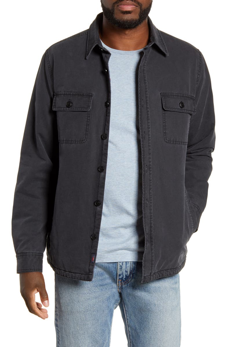FAHERTY Blanket Lined Shirt Jacket, Main, color, SULFUR DYED BLACK