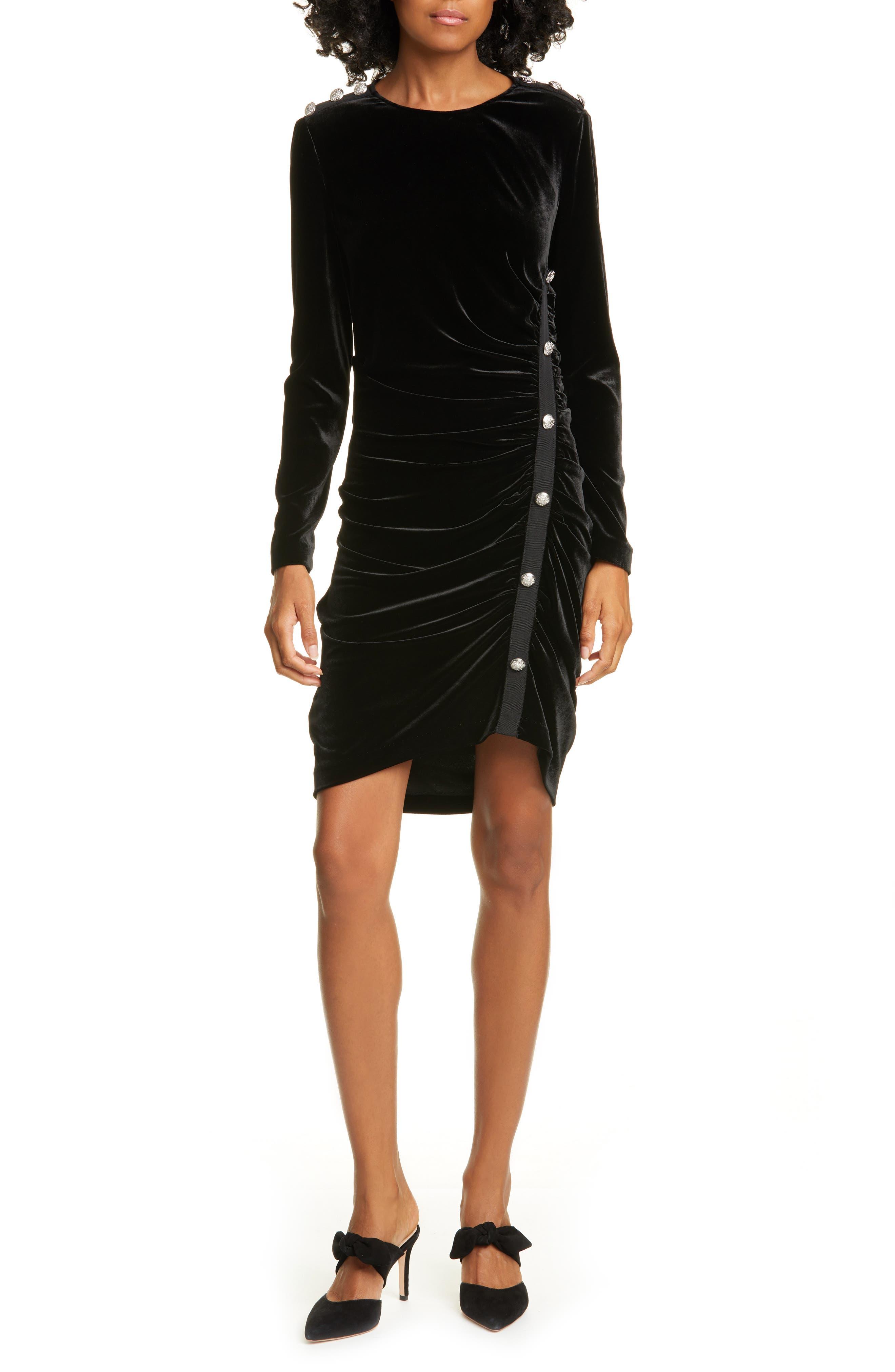 Veronica Beard Dresses Ira Long Sleeve Ruched Velvet Minidress