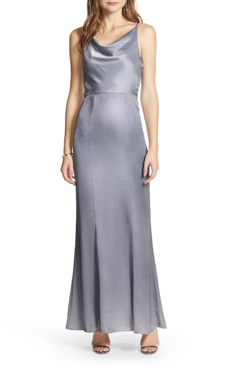 CHI CHI LONDON Delaney Cowl Neck Satin Trumpet Gown, Main, color, BLUE