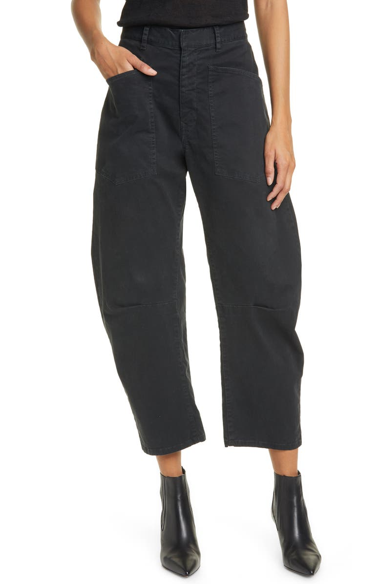 NILI LOTAN Shon Stretch Cotton Pants, Main, color, JET BLACK