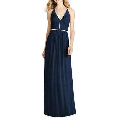 Jenny Packham Pleated Bodice Chiffon Gown, Blue