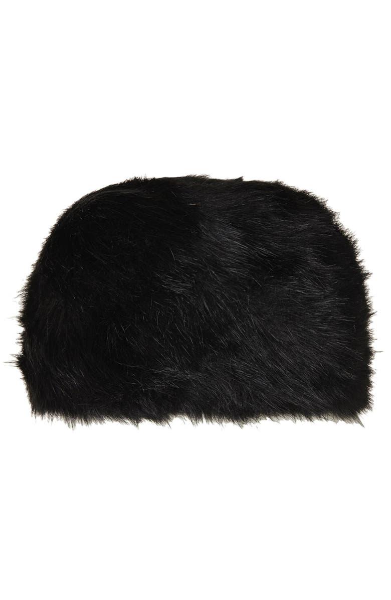 TOPSHOP Faux Fur Cap, Main, color, 001