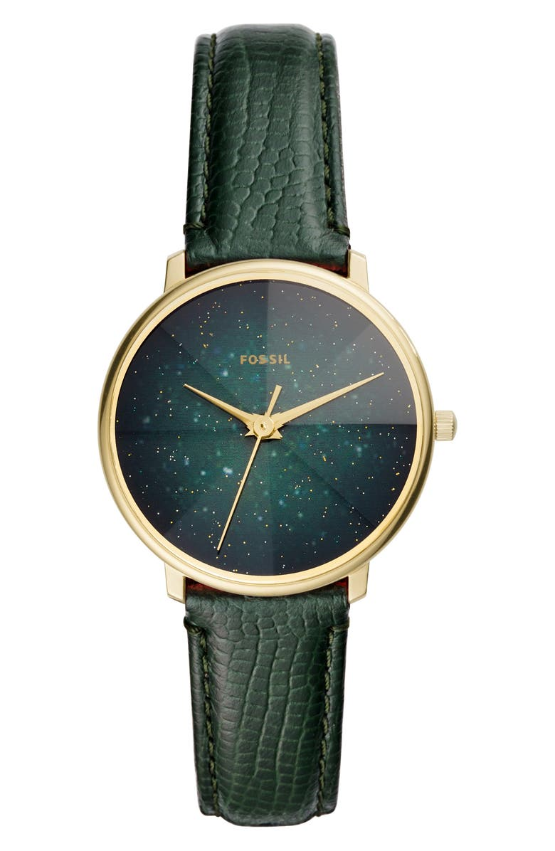FOSSIL Prismatic Galaxy Leather Strap Watch, 33mm, Main, color, 300