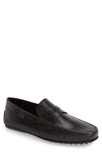 Tod's Men's Textured Leather Penny Driver In Black Textured Leather