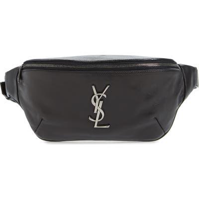 Saint Laurent Classic Calfskin Leather Belt Bag - Black