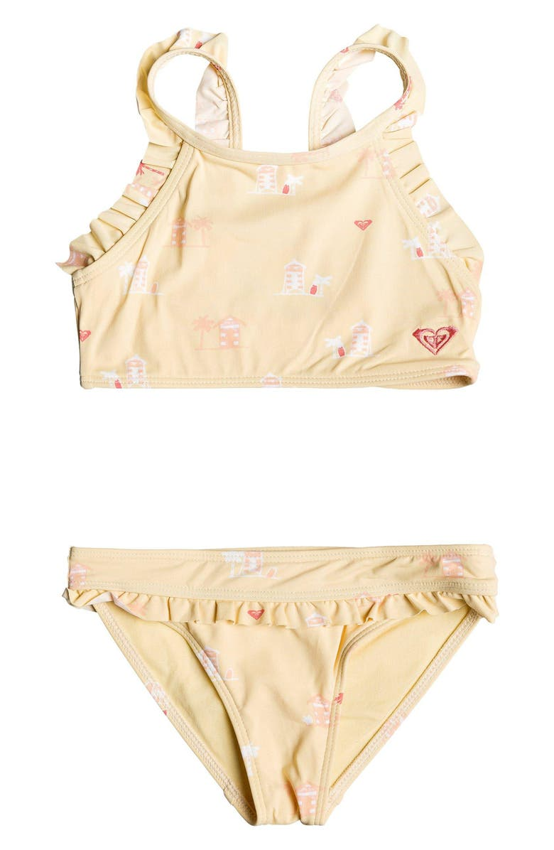 ROXY Tropical Getaway Ruffle Two-Piece Swimsuit, Main, color, 729