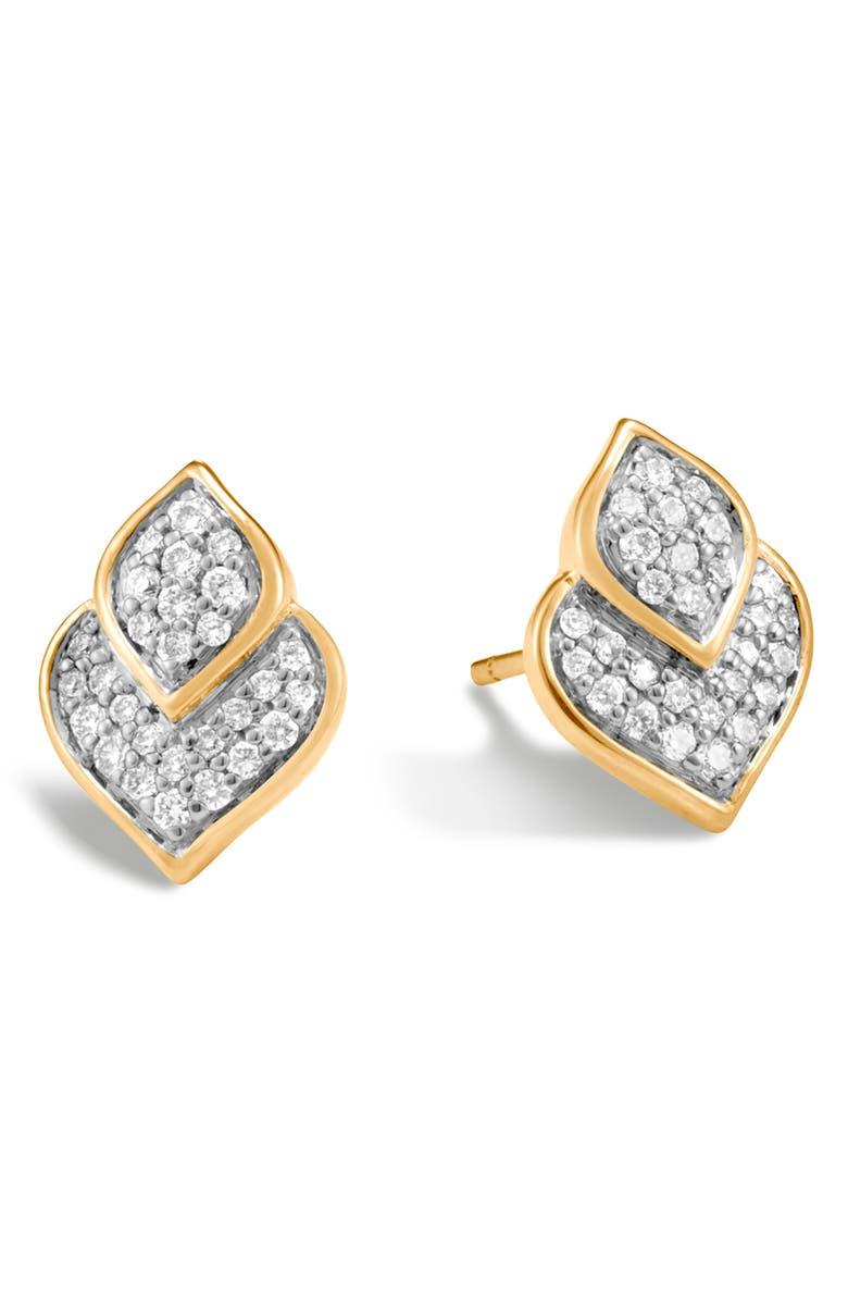 JOHN HARDY Naga Pavé Stud Earrings, Main, color, GOLD/ DIAMOND