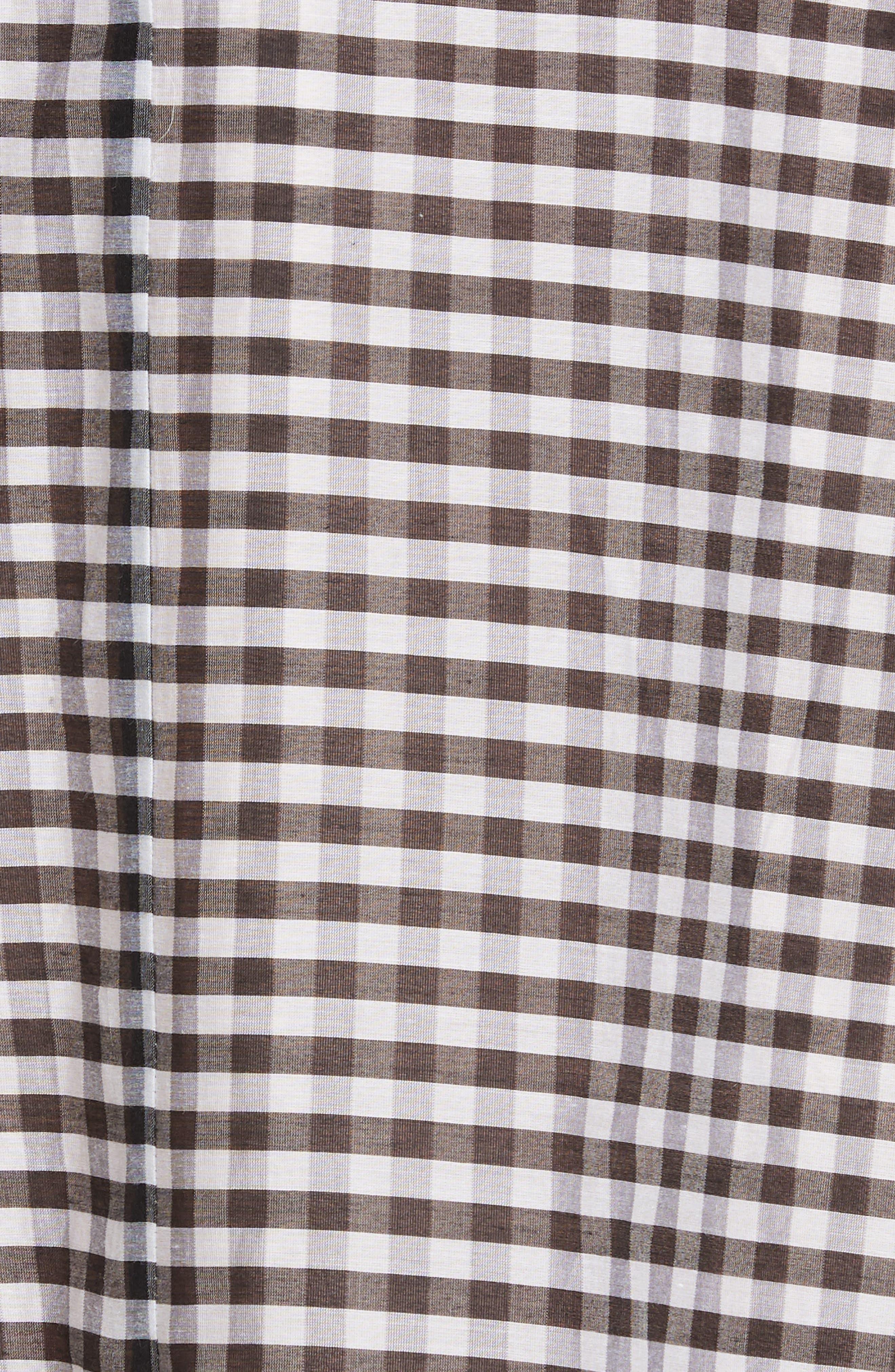 ,                             gingham midi dress,                             Alternate thumbnail 6, color,                             BLACK/ CREAM