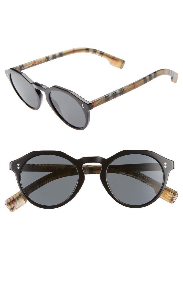 BURBERRY 48mm Round Sunglasses, Main, color, 001