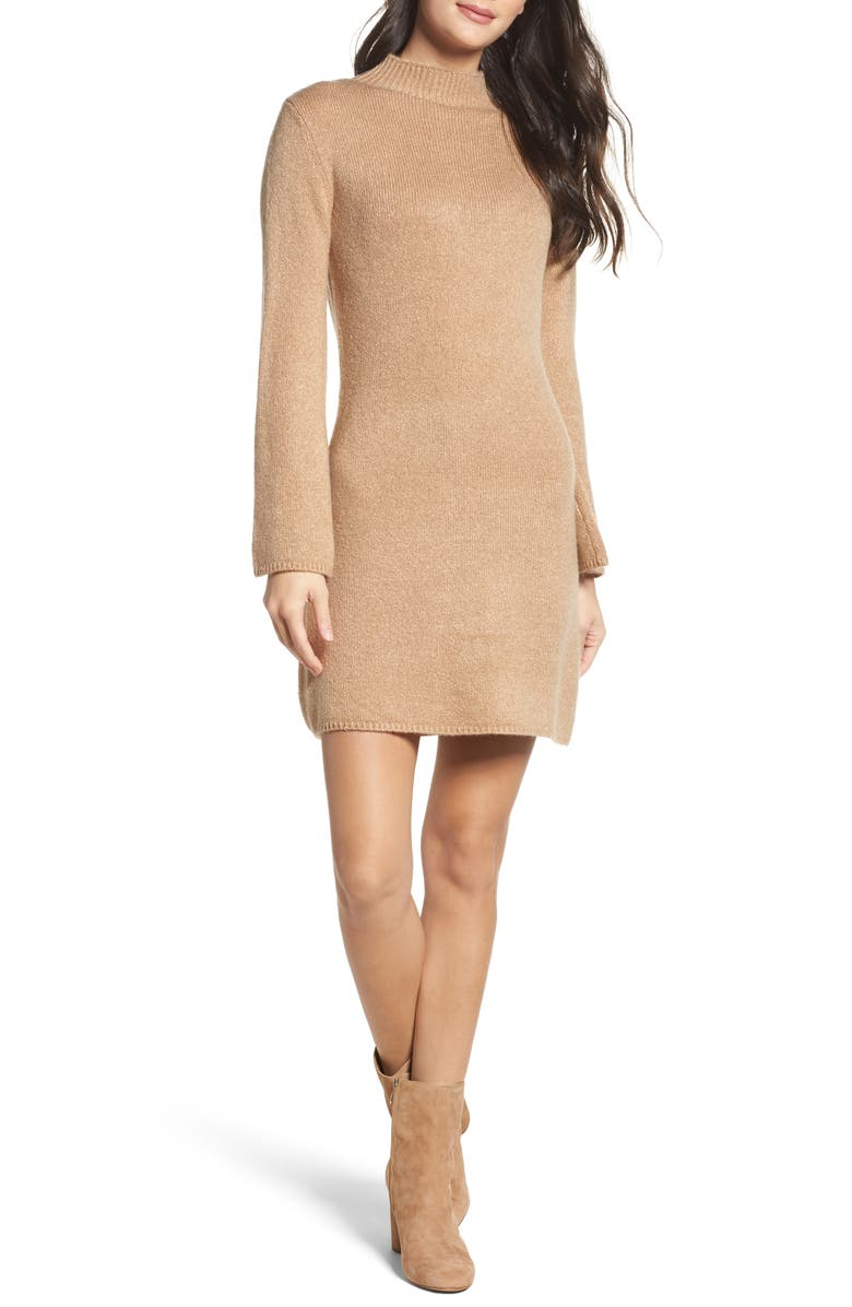 BARDOT Bell Sleeve Knit Dress, Main, color, 208