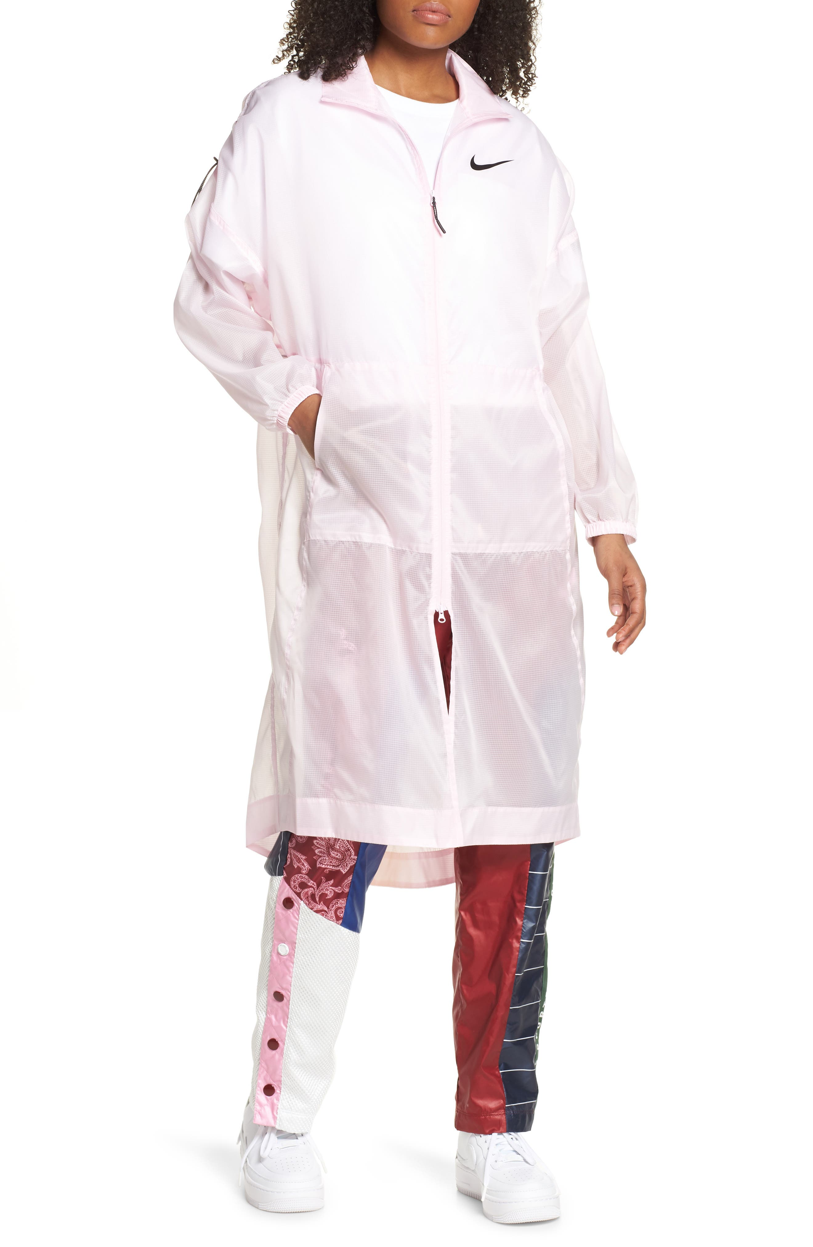 ,                             Sportswear Women's Woven Jacket,                             Main thumbnail 1, color,                             PINK FOAM/ BLACK