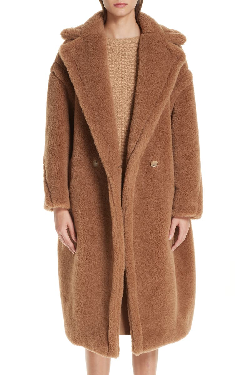 MAX MARA Teddy Bear Icon Faux Fur Coat, Main, color, CAMEL