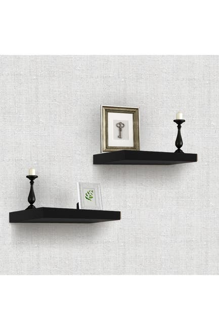 Image of Sorbus Black Floating Rectangle Wall Shelf - Set of 2