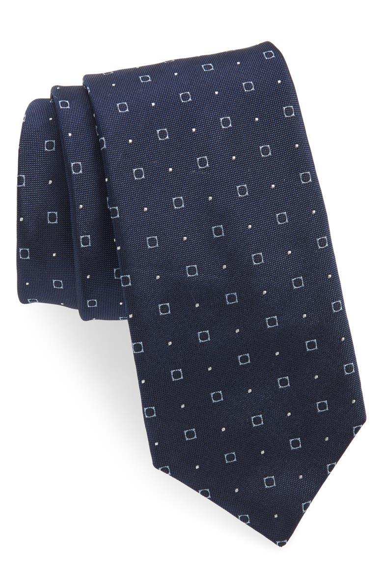 BOSS Medallion Silk Tie, Main, color, BLUE