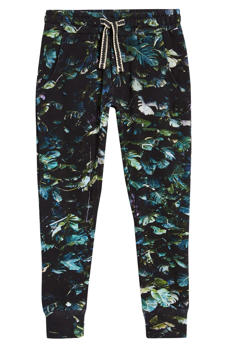 MUNSTERKIDS Foiled Fleece Digital Print Sweatpants, Main, color, LEAF DIGITAL BLUE