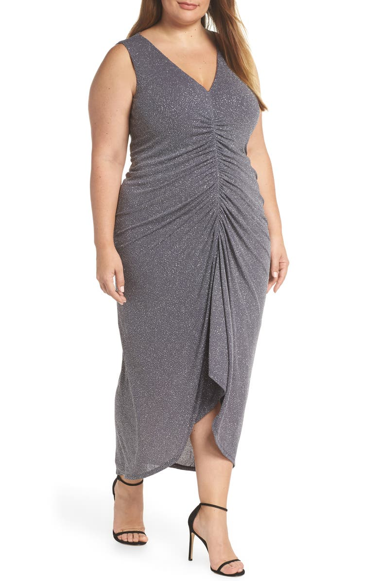 VINCE CAMUTO Sleeveless Ruched Front Metallic Evening Dress, Main, color, STEEL