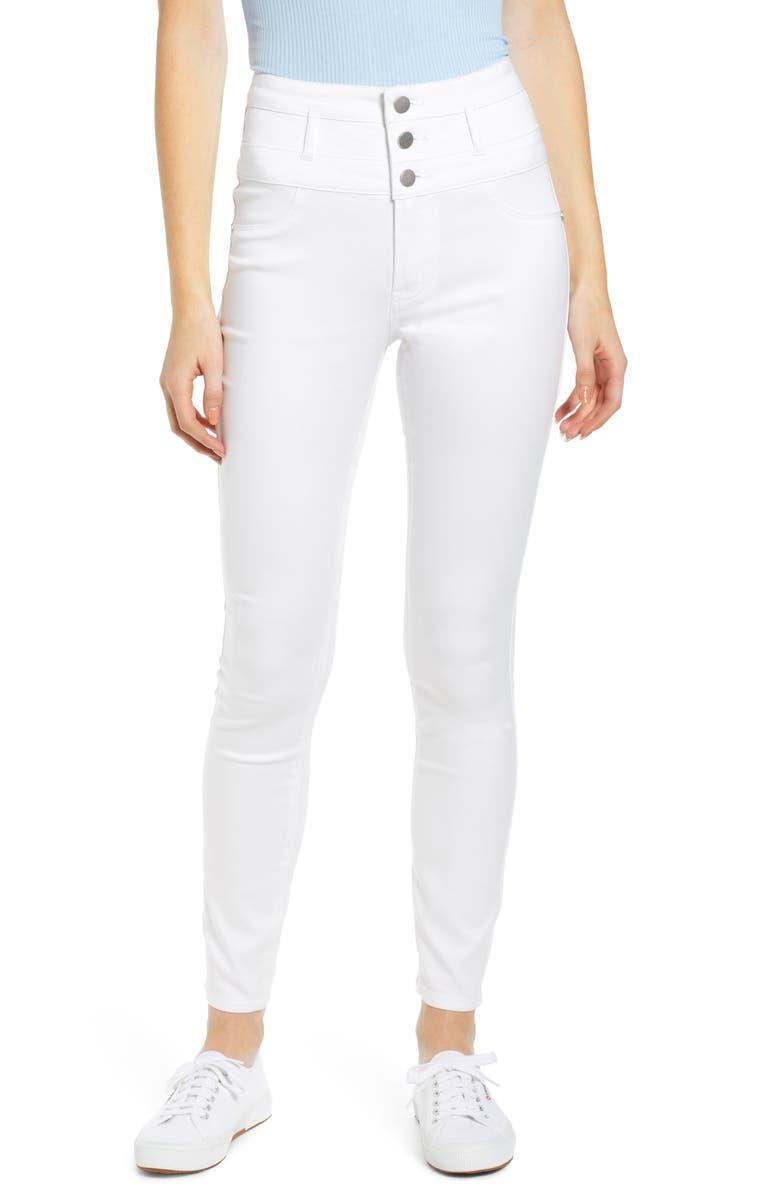 TINSEL High Waist Skinny Pants, Main, color, WHITE