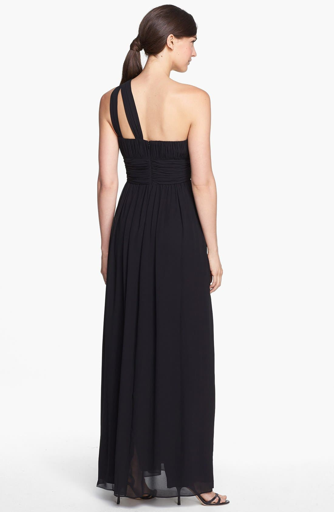 ,                             'Rachel' Ruched One-Shoulder Chiffon Gown,                             Alternate thumbnail 6, color,                             001