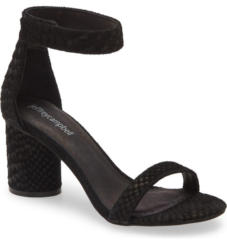 JEFFREY CAMPBELL Laura Ankle Strap Sandal, Main, color, BLACK SUEDE SNAKE PRINT