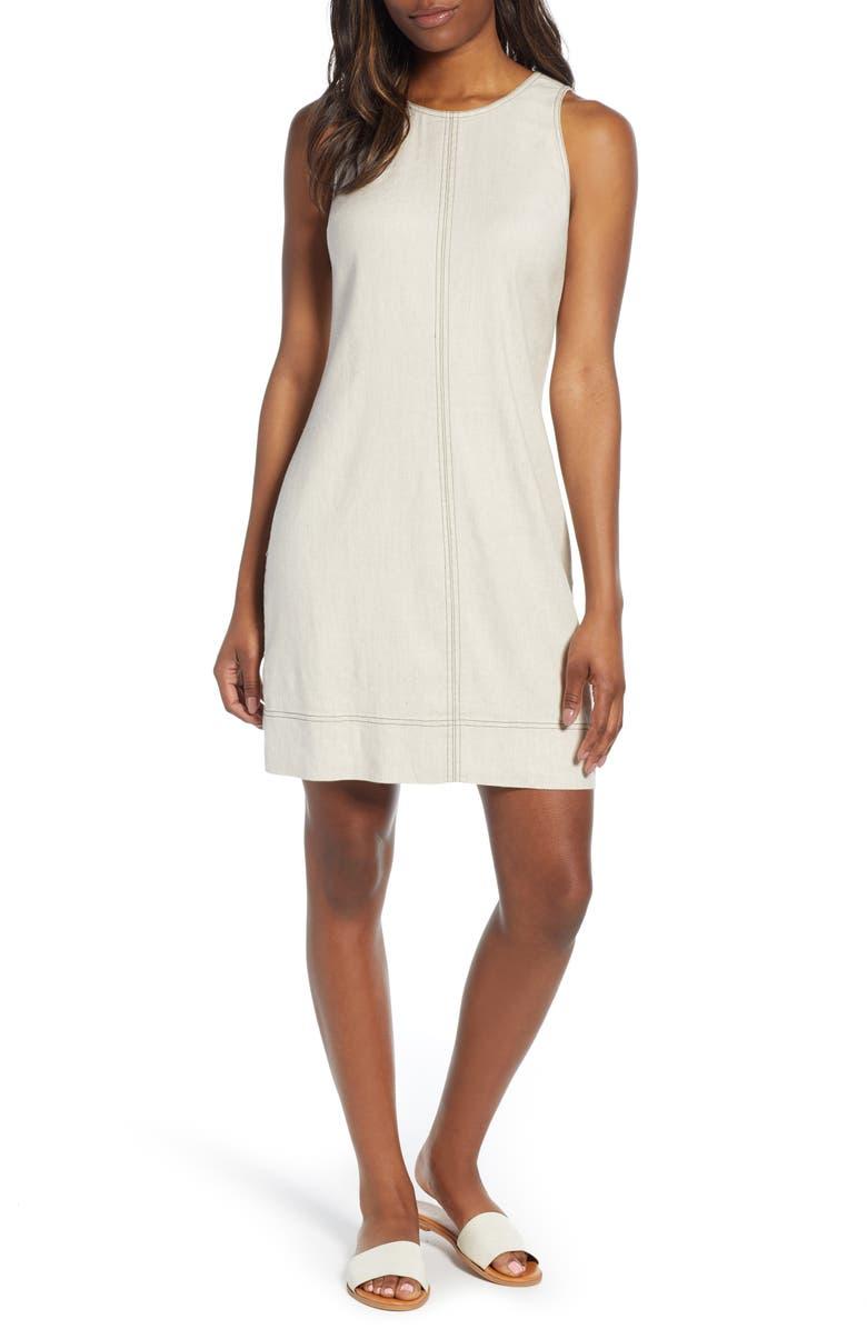 TOMMY BAHAMA Palm-A-Dora Sleeveless Sheath Dress, Main, color, NATURAL