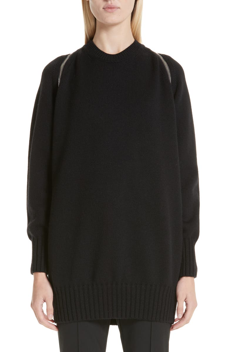 ALEXANDER WANG Zip Shoulder Merino Wool Sweater, Main, color, 001