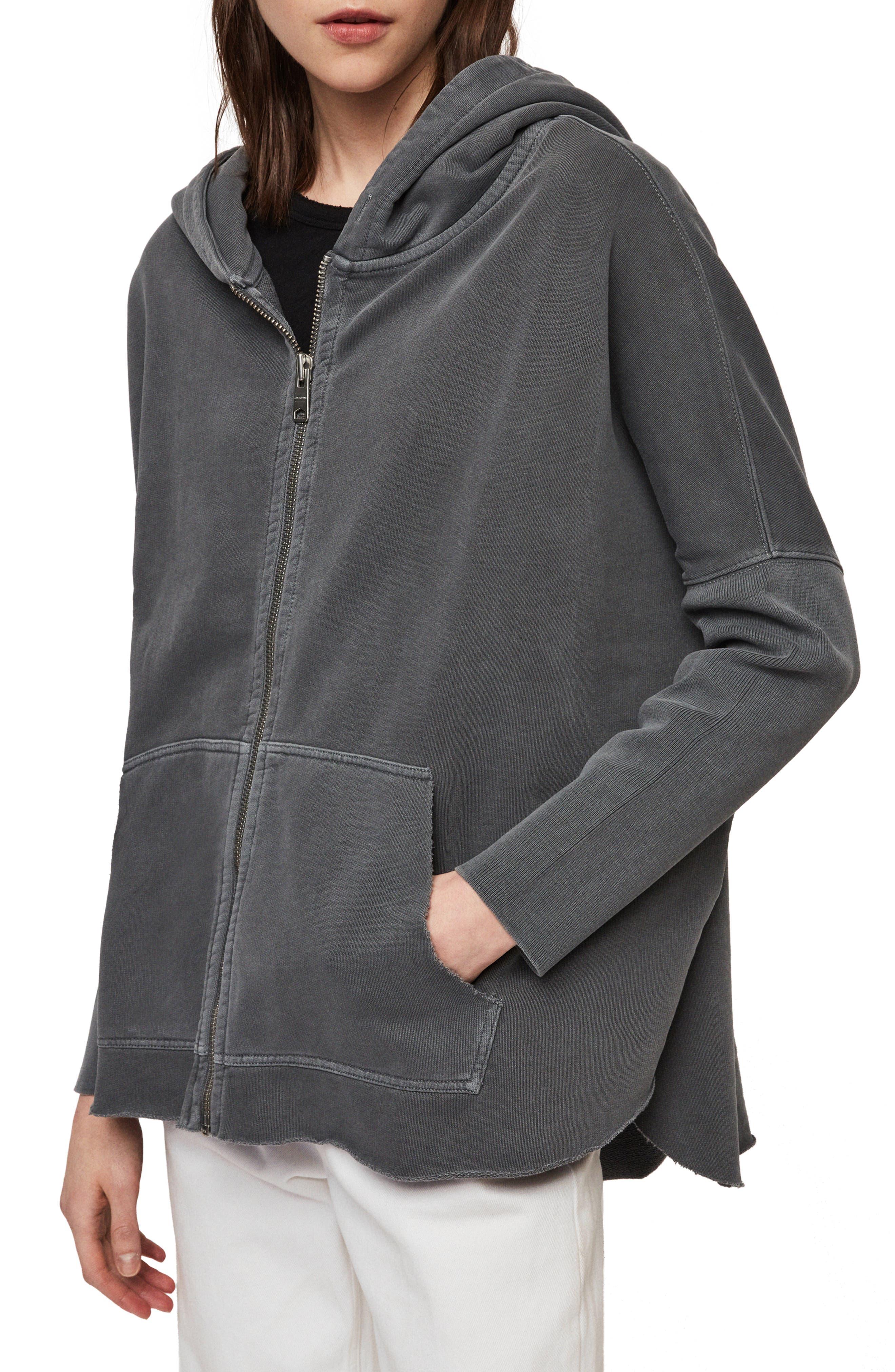 ,                             Xonda Zip Hooded Sweatshirt,                             Alternate thumbnail 5, color,                             WASHED BLACK