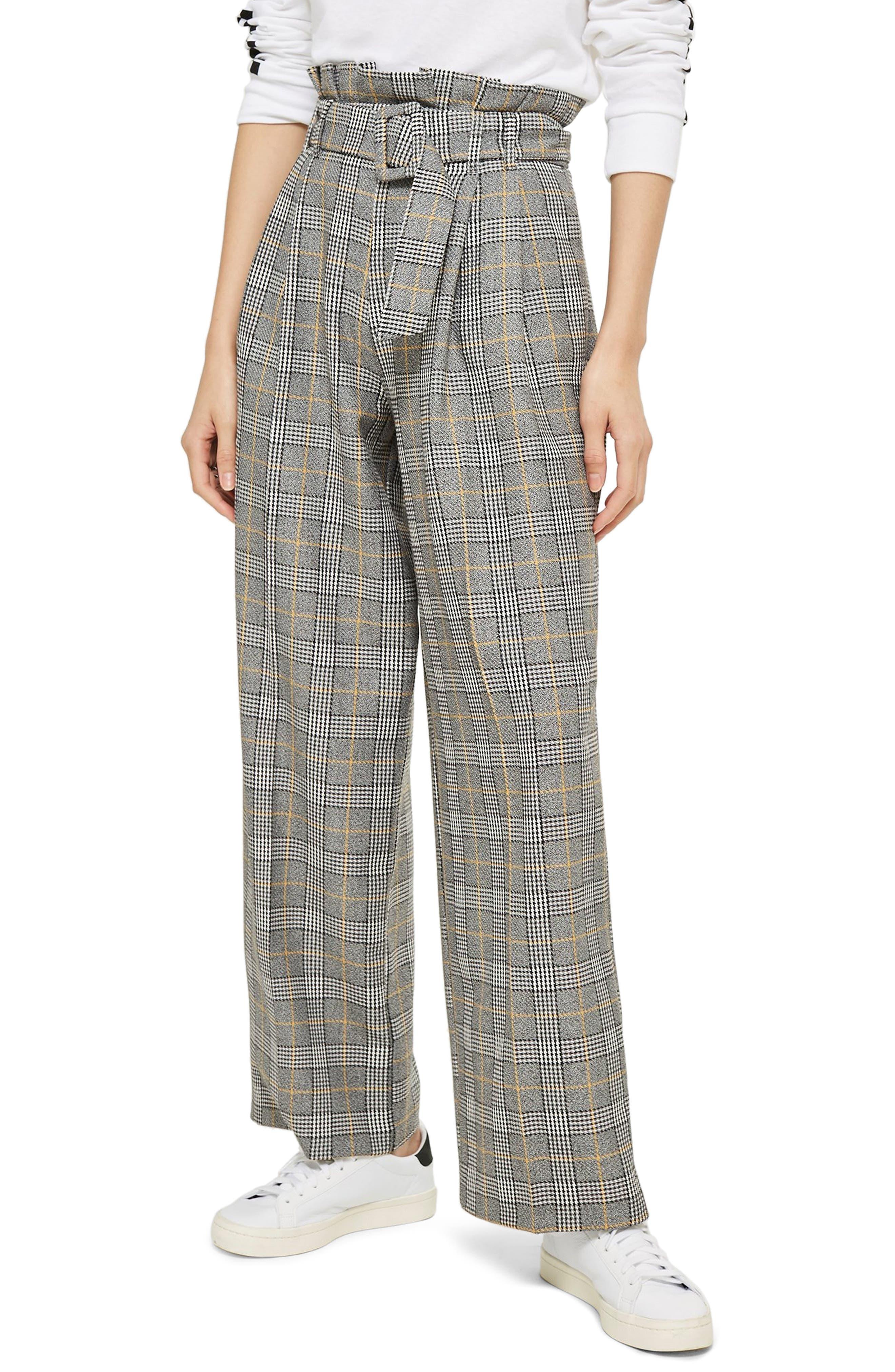 Check Wide Leg Trousers, Main, color, 020