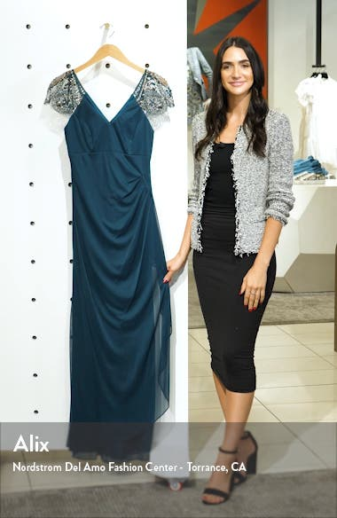 Embellished Mesh Column Gown, sales video thumbnail
