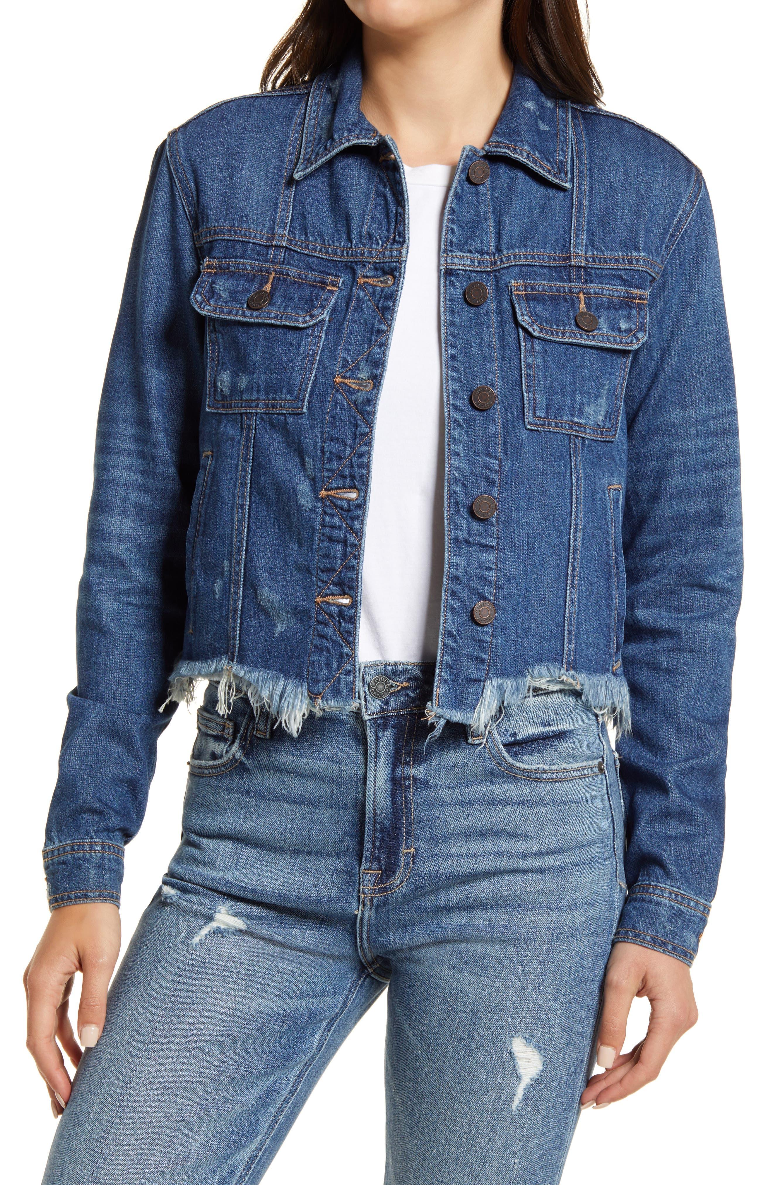 Frayed Hem Crop Denim Jacket