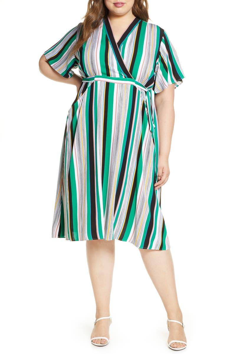 ELOQUII Stripe Faux Wrap Dress, Main, color, DIFFERENT STROKES