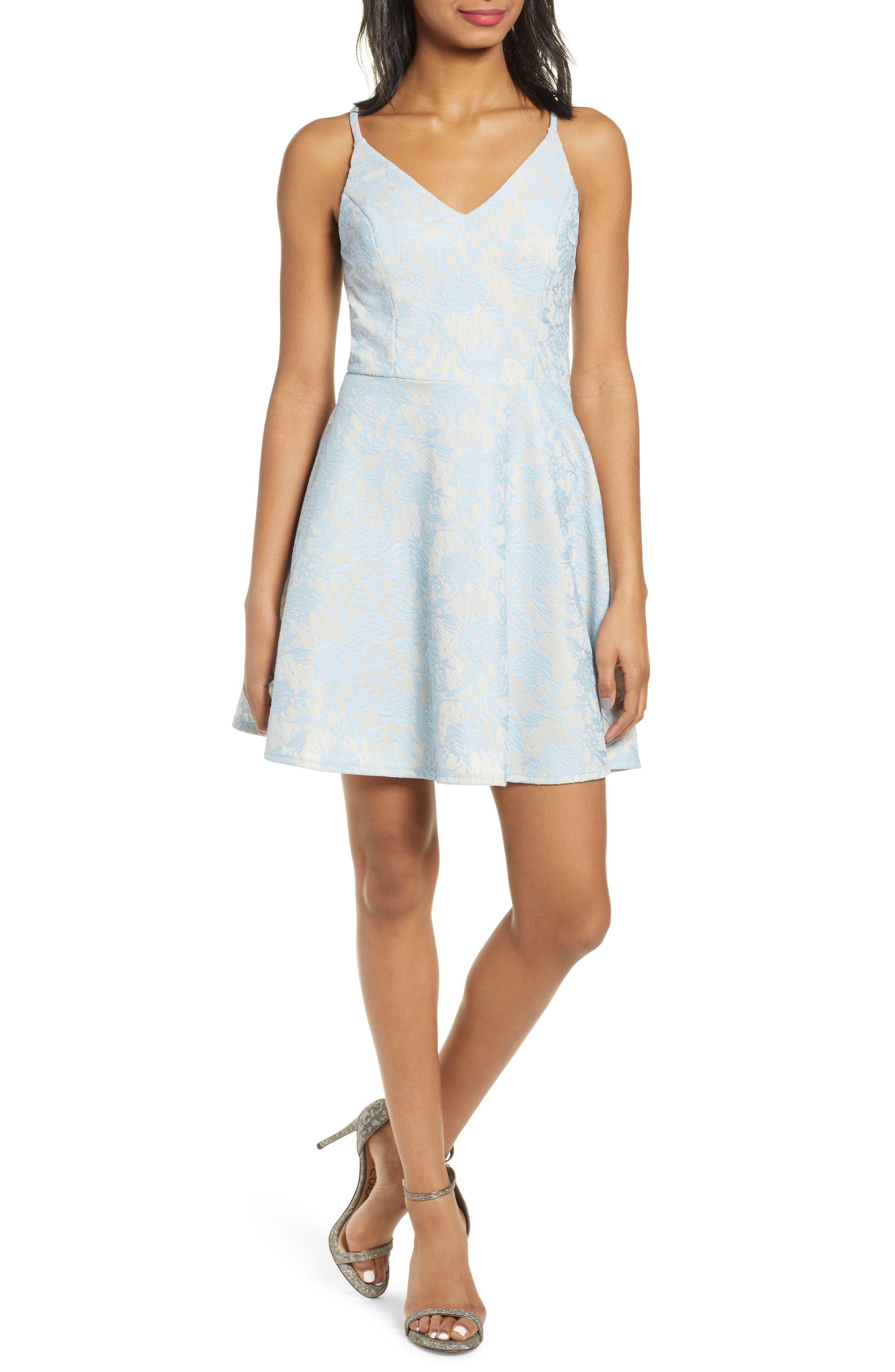 Speechless Bonded Lace Open Back Fit & Flare Dress, Blue