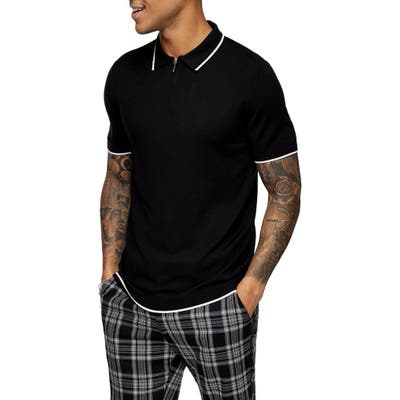 Topman Tipped Zip Polo, Black