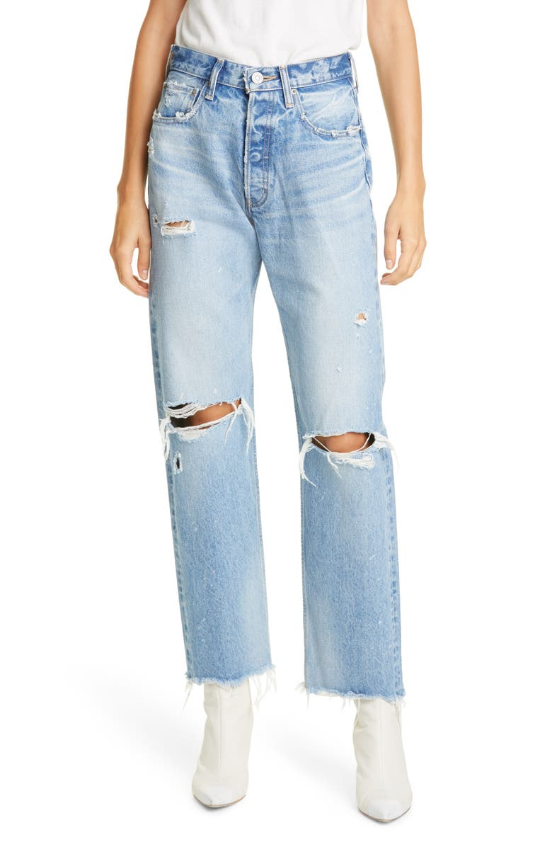 MOUSSY VINTAGE Odessa Ripped Straight Leg Jeans, Main, color, BLUE