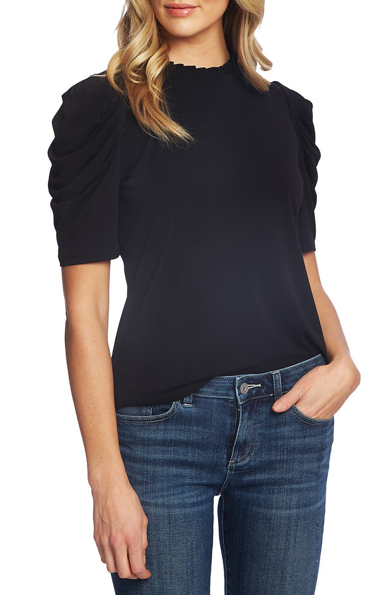 CECE Puff Sleeve Crepe Top, Main, color, 006