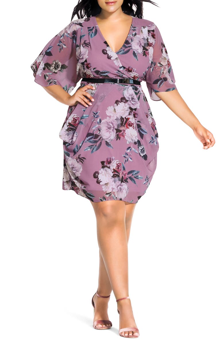 CITY CHIC Rosewood Floral Print Dress, Main, color, ROSEWOOD FLORAL