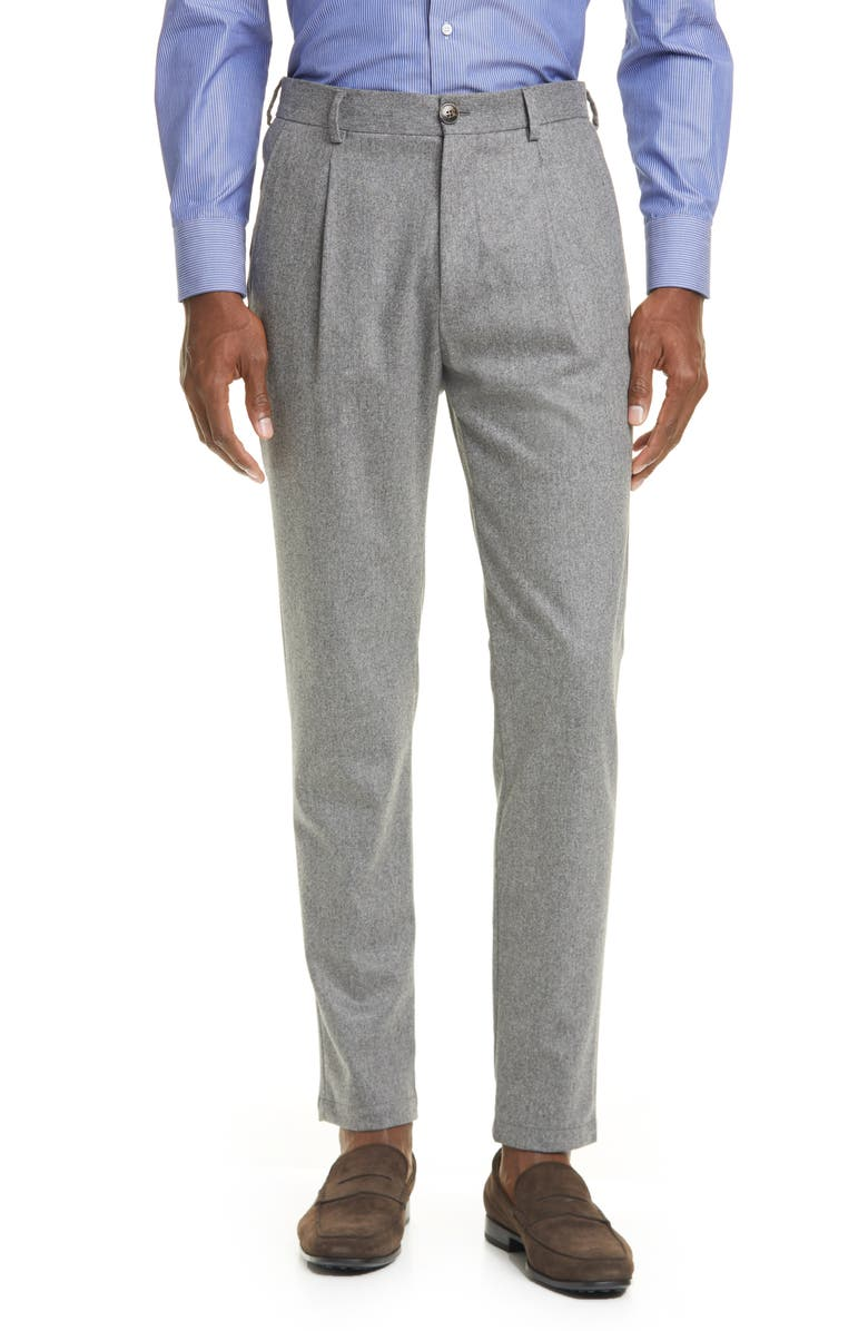 ELEVENTY Pleated Solid Stretch Wool & Cashmere Dress Pants, Main, color, 052
