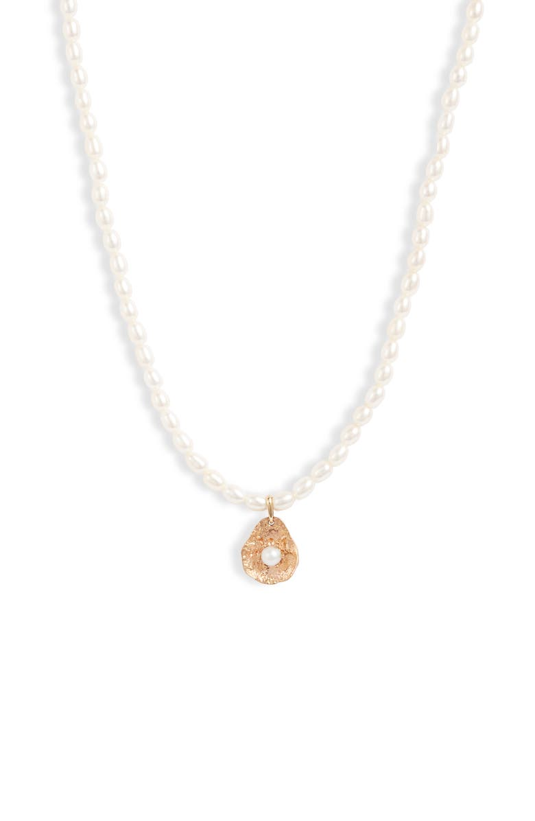 POPPY FINCH Gold Petal Pearl Necklace, Main, color, YELLOW GOLD/ PEARL