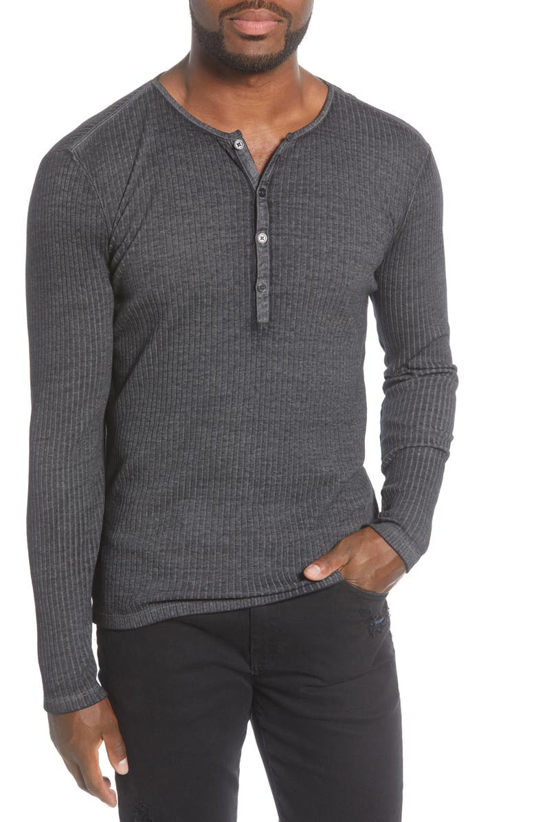 JOHN VARVATOS Slim Fit Long Sleeve Henley, Main, color, 032