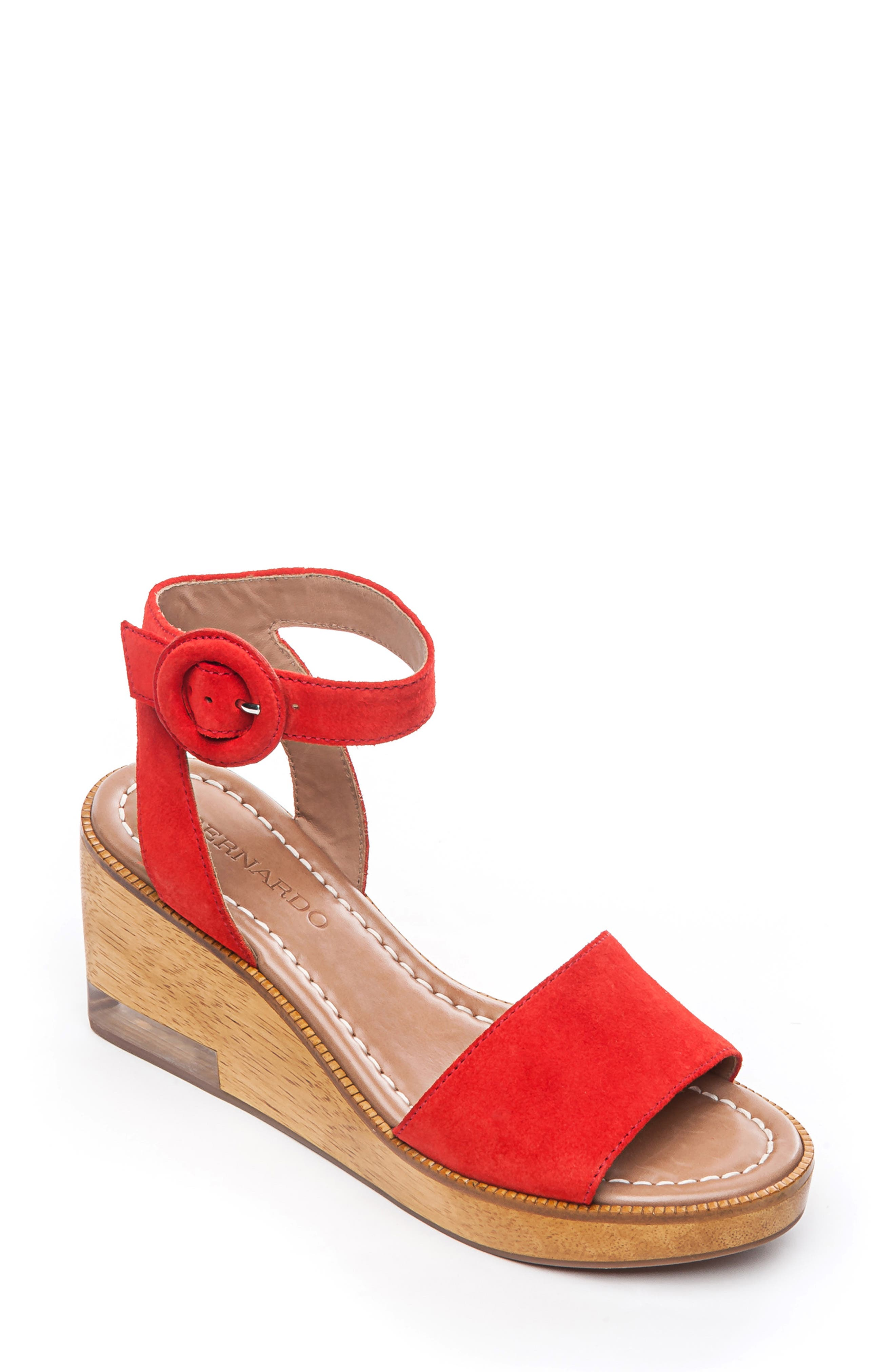 Bernardo Kate Platform Wedge Sandal- Red