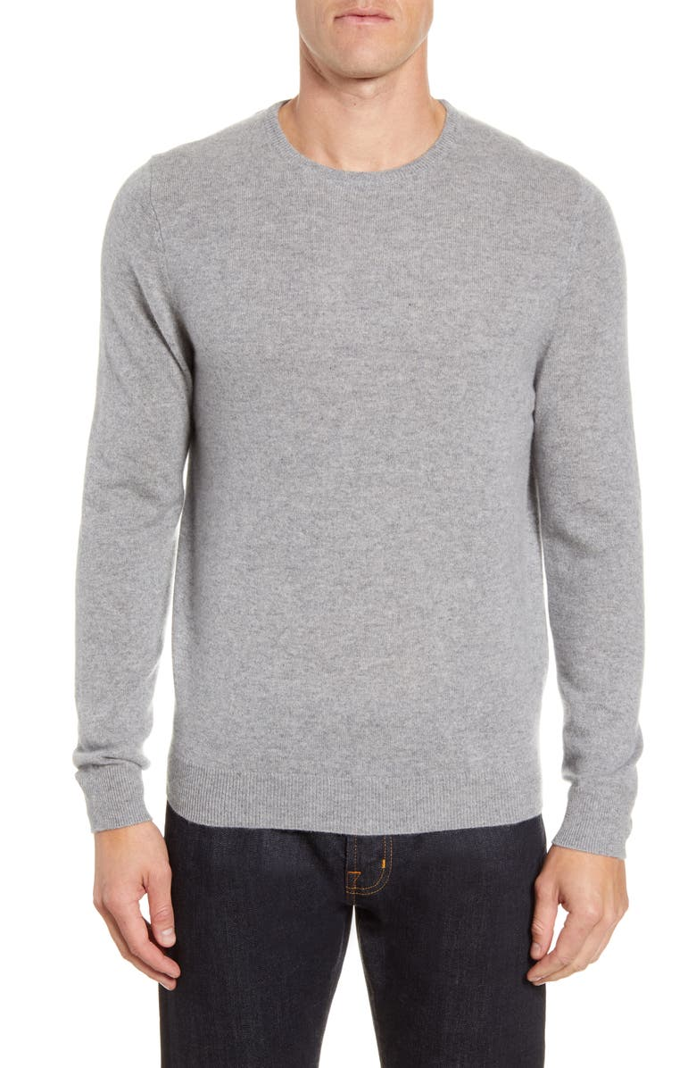 NORDSTROM MEN'S SHOP Cashmere Crewneck Sweater, Main, color, GREY DRIFTWOOD HEATHER