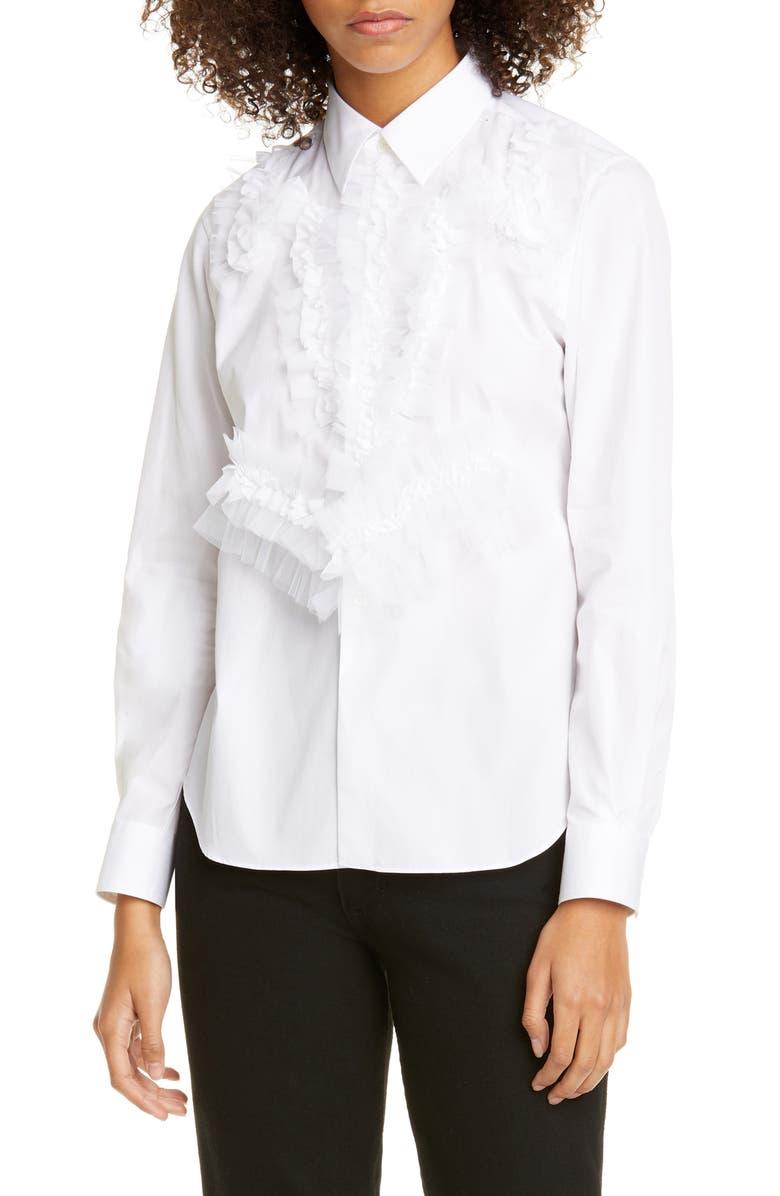 COMME DES GARÇONS Ruffle Cotton Shirt, Main, color, WHITE X WHITE