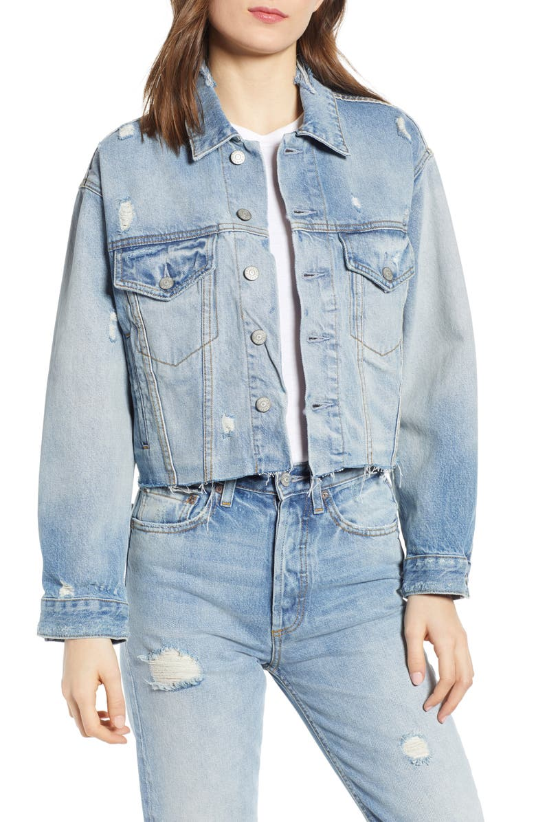 BOYISH JEANS The Harvey Raw Hem Denim Jacket, Main, color, SOME LIKE IT HOT