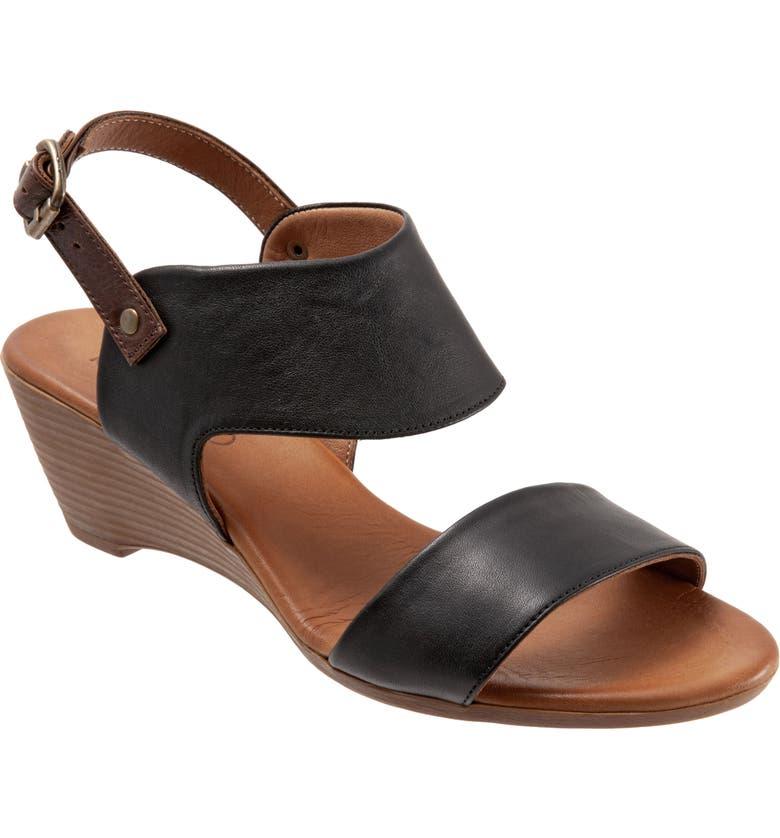 BUENO Ivana Slingback Wedge Sandal, Main, color, BLACK LEATHER