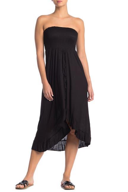 Image of BOHO ME Knit Strapless Ruffle High/Low Tube Dress
