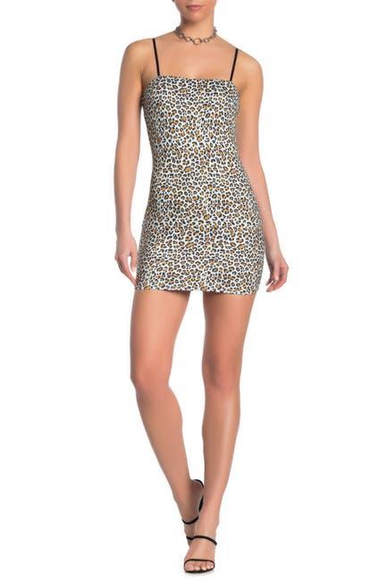 Image of Wild Honey Leopard Print Faux Suede Mini Dress