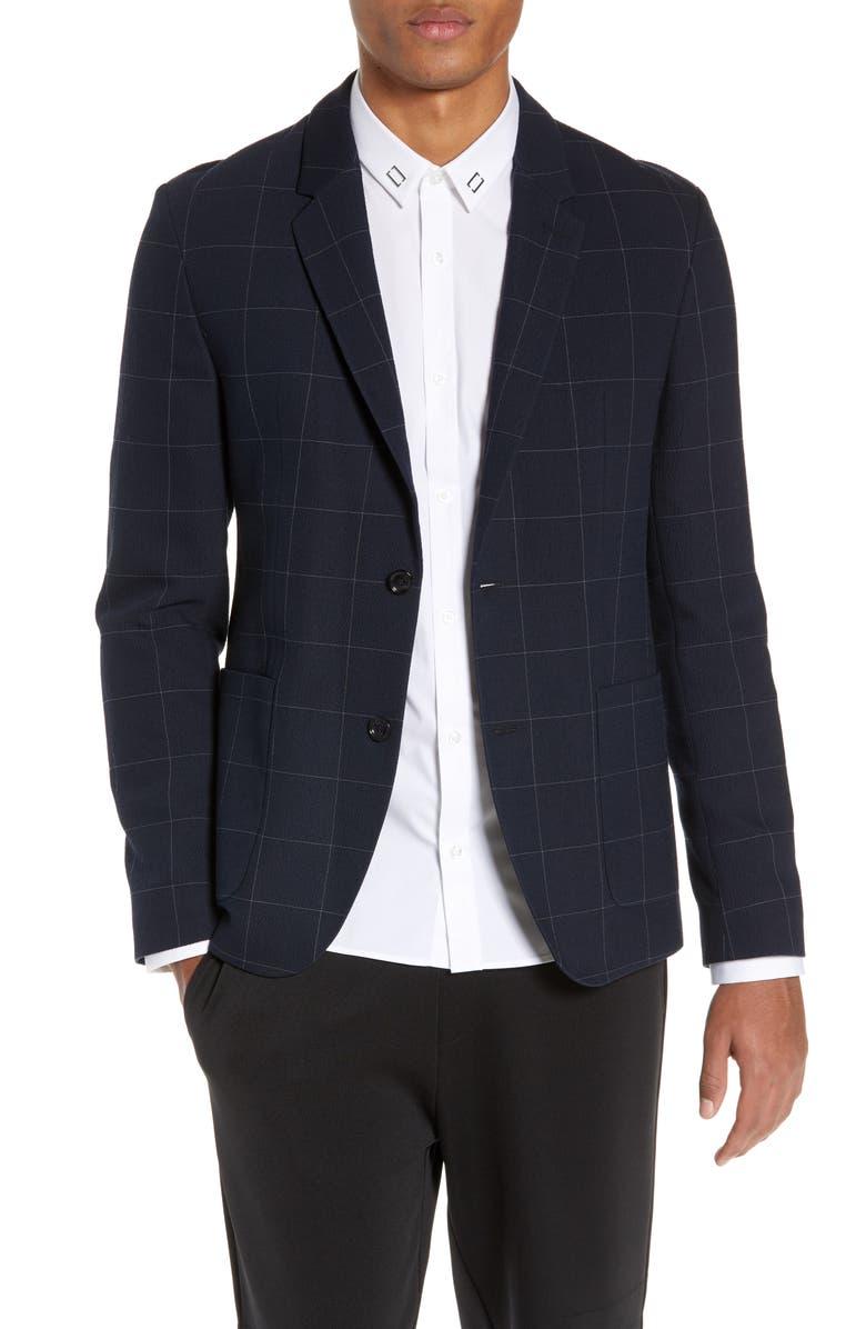 HUGO Areltu1921 Slim Fit Windowpane Sport Coat, Main, color, DARK BLUE