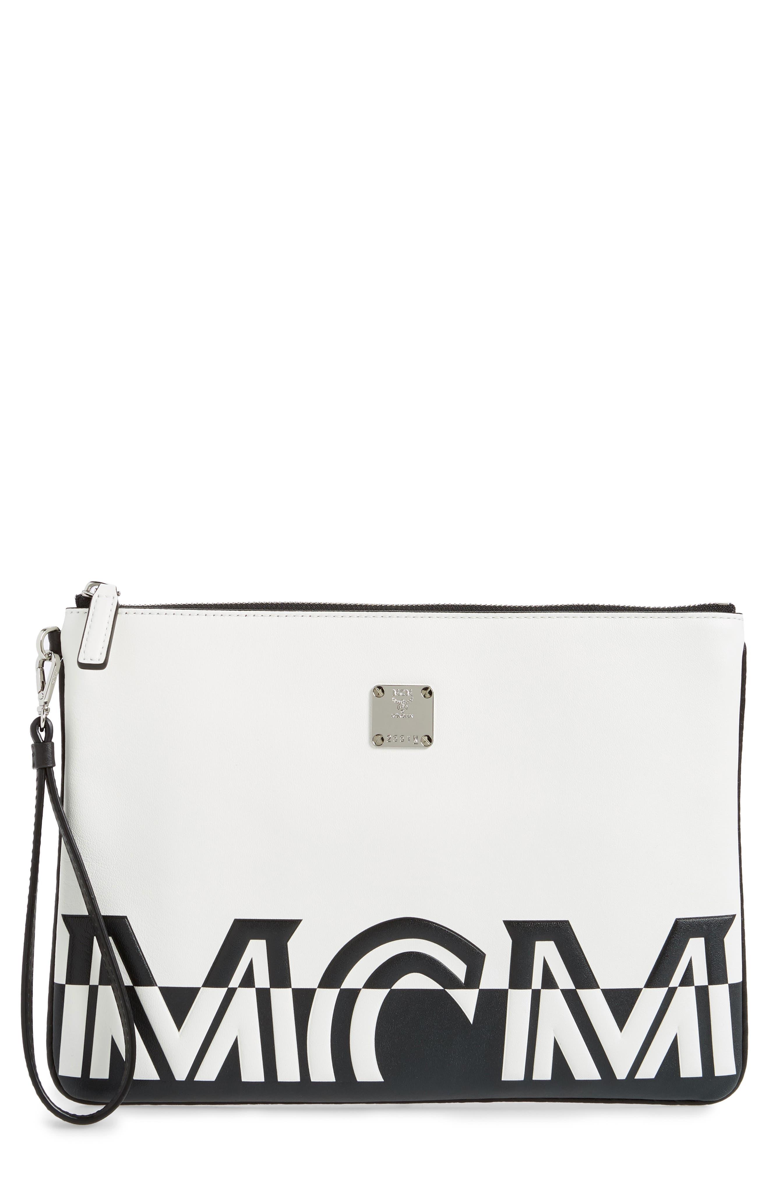 Mcm Clutch Medium Contrast Logo Leather Pouch