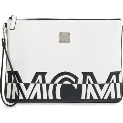 Mcm Medium Contrast Logo Leather Pouch - White