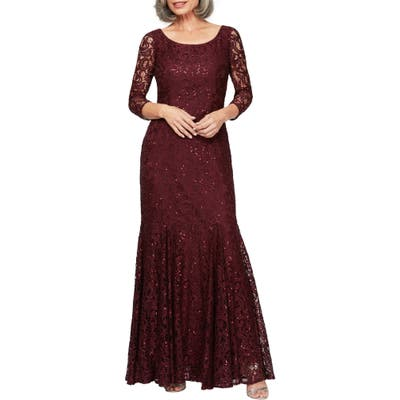 Alex Evenings Lace & Sequin Trumpet Gown, Red