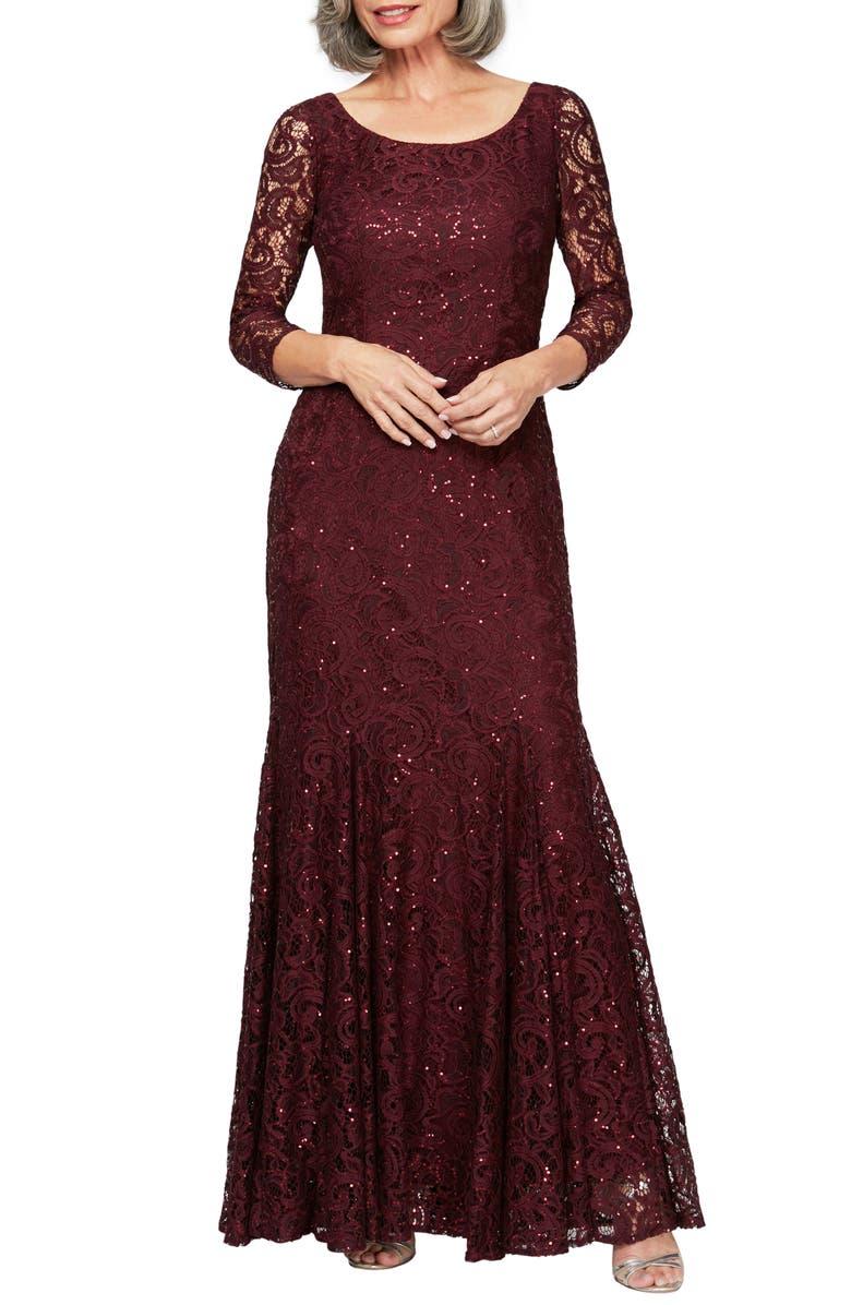 ALEX EVENINGS Lace & Sequin Trumpet Gown, Main, color, FIG